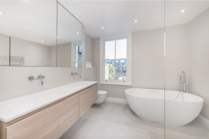 Luxury Free Standing Bath in Refurbished Family room as part of abasement conversion Fulham.