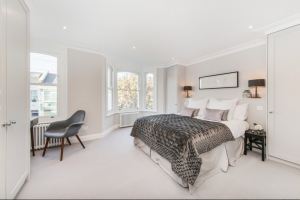 Refurbished Master Bedroom with Luxury Bedding as part of a basement conversion Fulham.