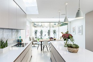 Light and airy Kitchen installation as part of a basement conversion Fulham.