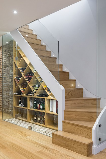 Custom made staircase in basement conversion Clapham.